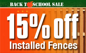 15 percent discount on installed fences